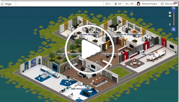 Votre avatar se déplace dans les 8 salles de formation disponibles